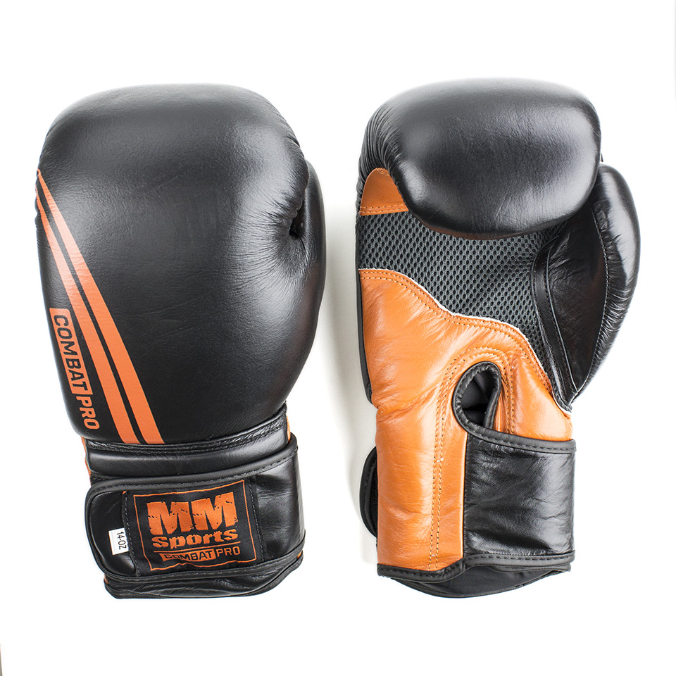 Boxningshandskar – MM Combat Boxing Glove, Black/Orange, Stl. 14 oz - Träningstillbehör - MM Combat