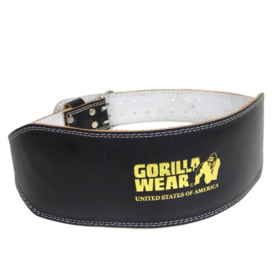 Gorilla Wear Full Leather Padded Belt Black/Gold L/XL - Gorilla Wear