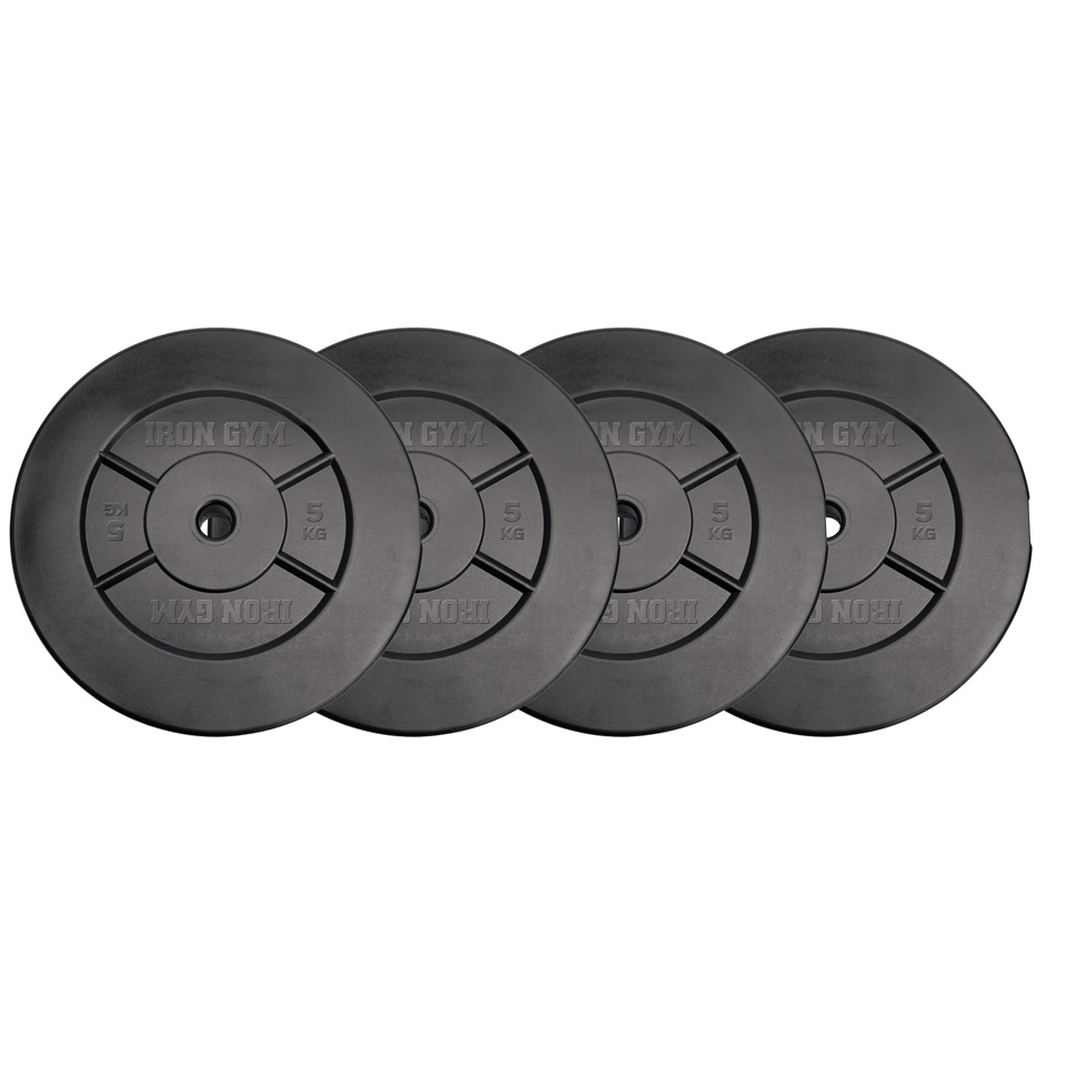 Iron Gym 20kg Plate Set, 5kg x 4 - (Add ons for Dumbbells) 4 x 5 kg viktplattor - Iron Gym