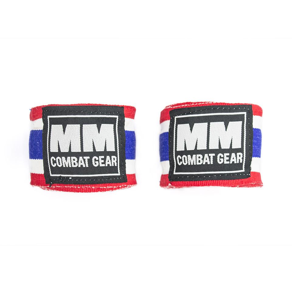 Boxningslindor – MM Combat Hand Wrap, Röd/Vit/Blå - Handledsstöd, Träningstillbehör - MM Combat