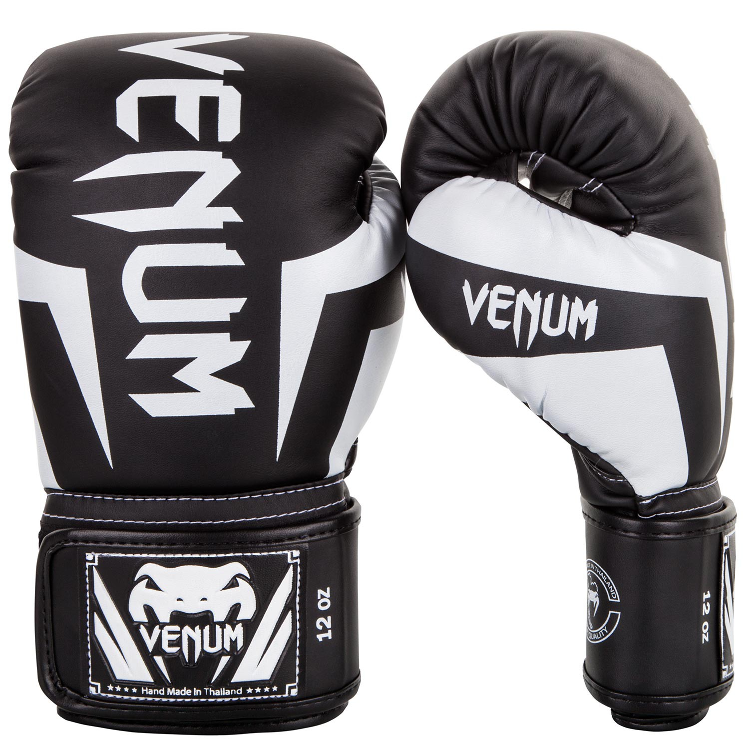 Venum Elite Boxing Gloves, Black/White 10 oz - Venum