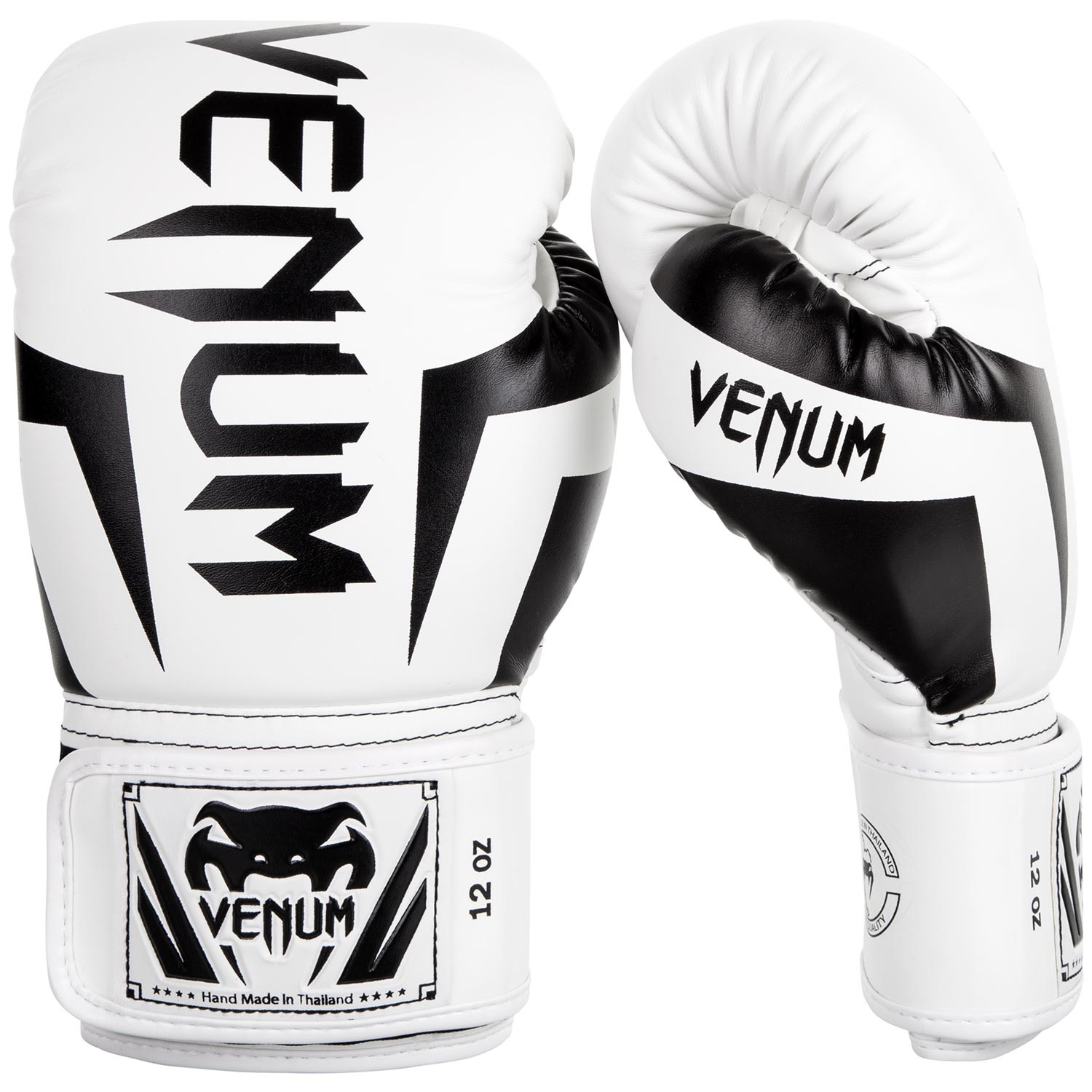 Venum Elite Boxing Gloves, White/Black 16 oz - Venum
