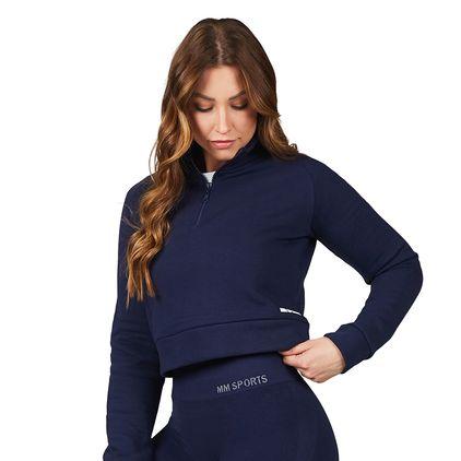 Cropped Zip Sweater, Midnight Blue