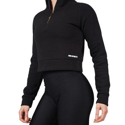 Cropped Zip Sweater, Black